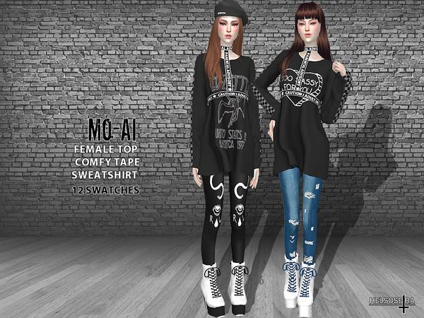 MOAI Oversized Tape Sweatshirt TOP by Helsoseira at TSR image 3281 Sims 4 Updates
