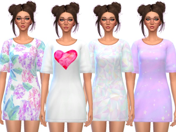 Sims 4 Kawaii Tee Shirt Dress by Wicked Kittie at TSR