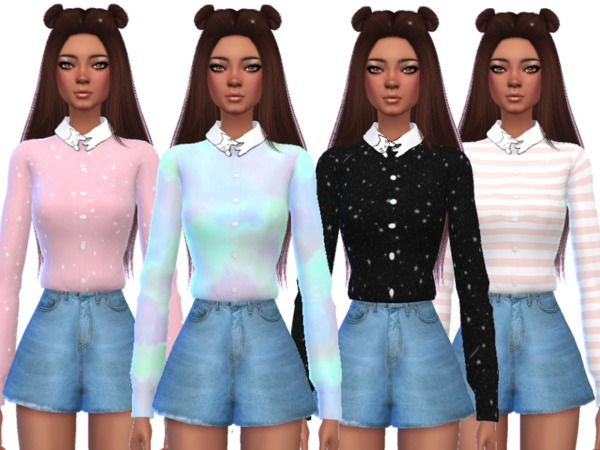 Sims 4 Kawaii Cat Collar Shirt by Wicked Kittie at TSR