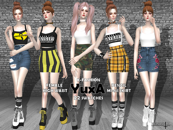 Sims 4 YUXA High Waist Mini Skirt by Helsoseira at TSR