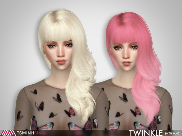 Sims 4 Twinkle Hair 65 with bang by TsminhSims at TSR