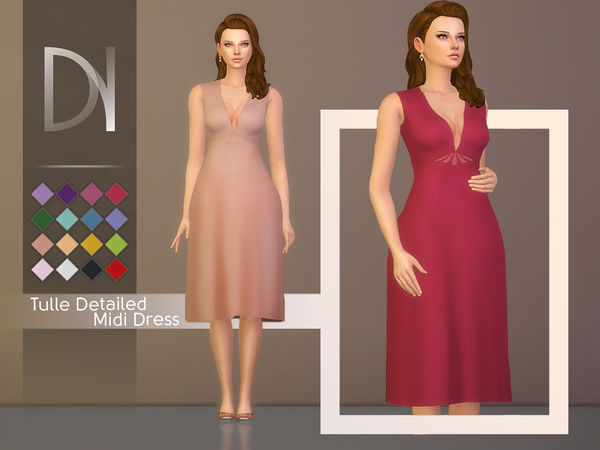 Tulle Detailed Midi Dress by DarkNighTt at TSR image 366 Sims 4 Updates
