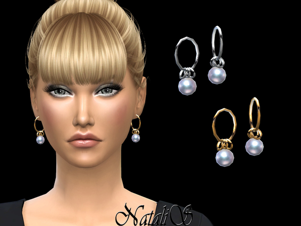 Circle earrings with dangling pearl by NataliS at TSR image 386 Sims 4 Updates