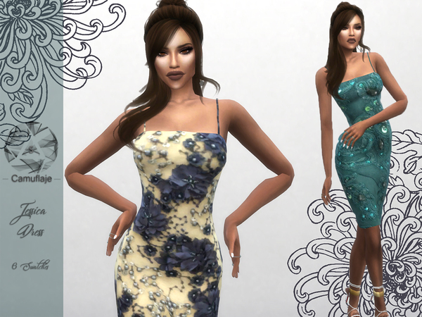 Sims 4 Jessica Dress by Camuflaje at TSR
