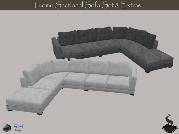 Sims 4 Tuomo Sectional Sofa Set and Extras by RightHearted at TSR