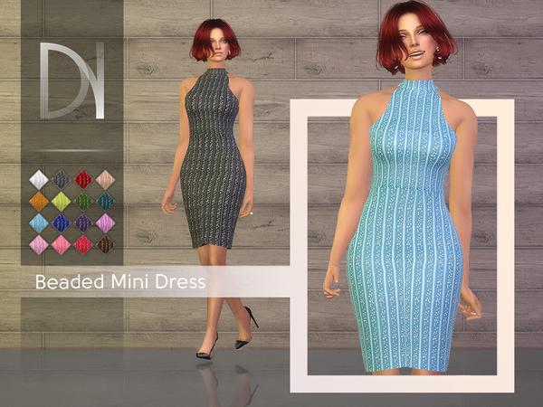 Sims 4 Beaded Midi Dress by DarkNighTt at TSR