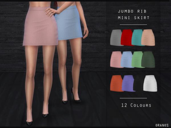 Sims 4 Jumbo Rib Mini Skirt by OranosTR at TSR