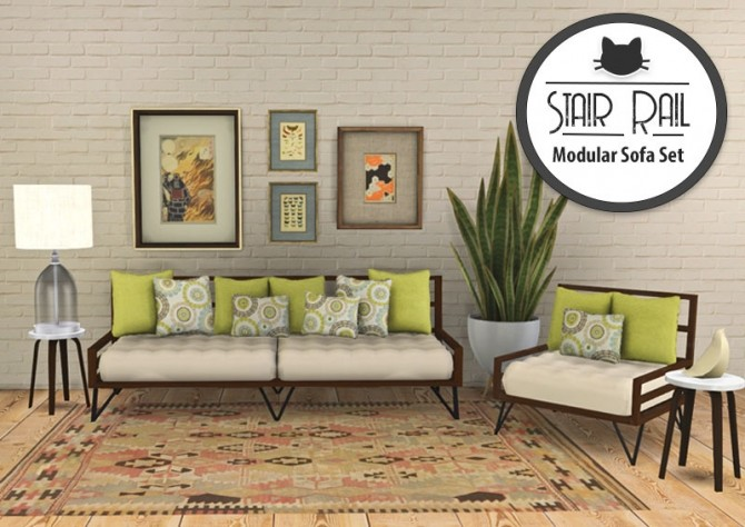 Sims 4 Stair Rail Modular Sofa Set at Kitkat's Simporium