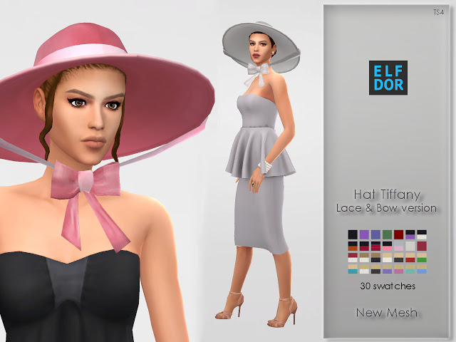 Hat Tiffany with lace & bow at Elfdor Sims image 555 Sims 4 Updates