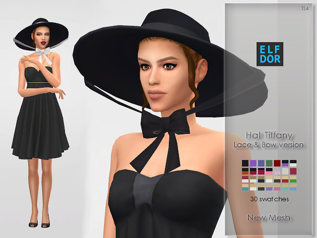 Hat Tiffany with lace & bow at Elfdor Sims image 565 Sims 4 Updates
