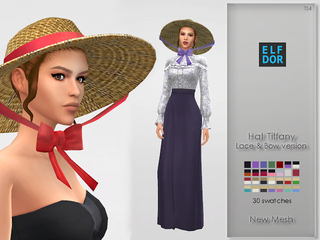 Hat Tiffany with lace & bow at Elfdor Sims image 575 Sims 4 Updates