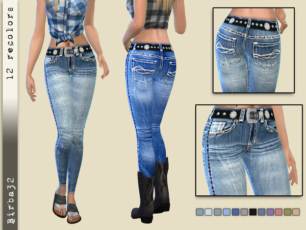 Cowgirl Jeans Tight by Birba32 at TSR image 5813 Sims 4 Updates
