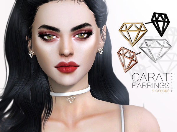 Sims 4 Carat Earrings by Pralinesims at TSR
