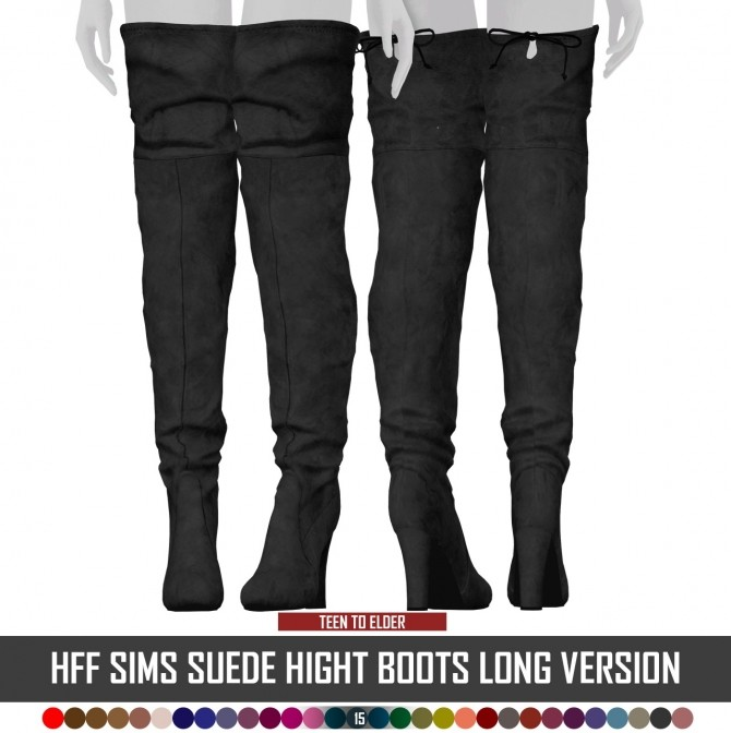 Sims 4 HFF SIMS SUEDE HIGHT BOOTS at REDHEADSIMS
