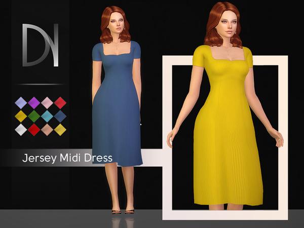 Sims 4 Jersey Midi Dress by DarkNighTt at TSR