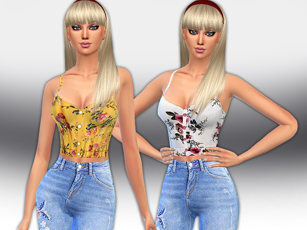 Sims 4 Female Trendy Floral Button Up Tops by Saliwa at TSR