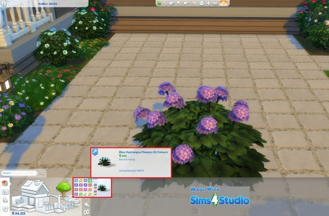Sims 4 Hydrangea Flowers 16 Colours by wendy35pearly at Mod The Sims