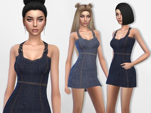 Sims 4 Denim Mini Dress by Puresim at TSR