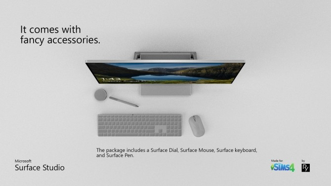 Sims 4 Surface Studio with Accessories by RyotMan at Mod The Sims