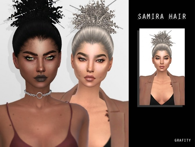 Sims 4 SAMIRA HAIR + PINS ACC at Grafity cc