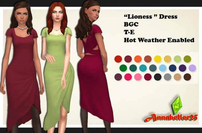Sims 4 Lioness Dress by Annabellee25 at SimsWorkshop