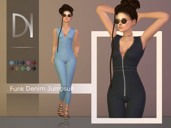 Sims 4 Funk Denim Jumpsuit by DarkNighTt at TSR