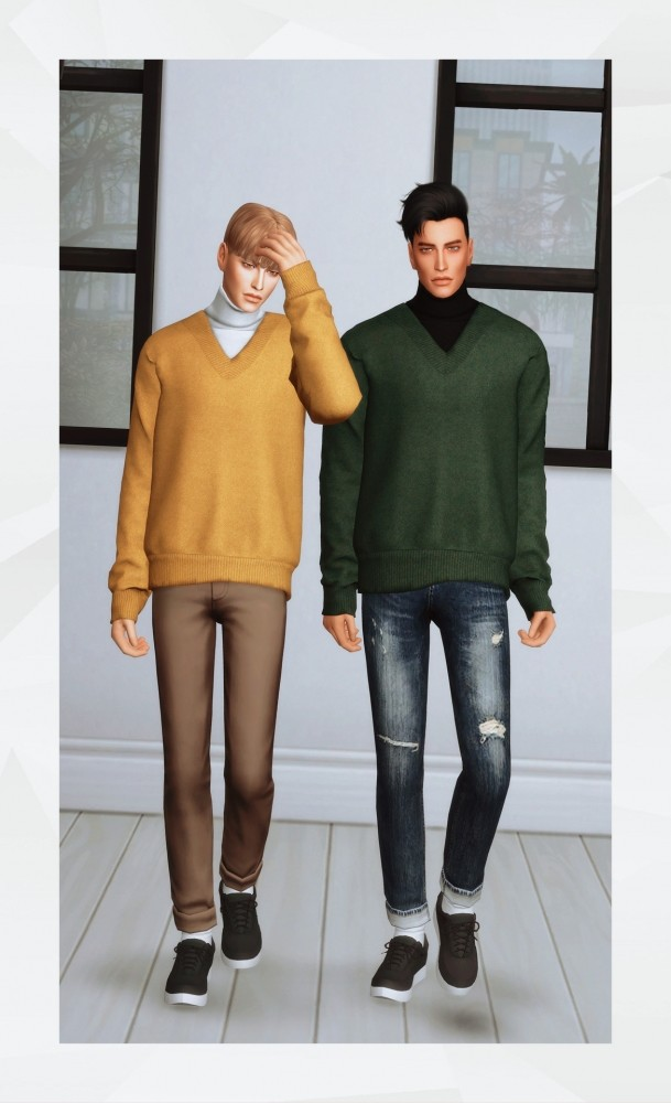Sims 4 V Neck Knit with Turtleneck at Gorilla