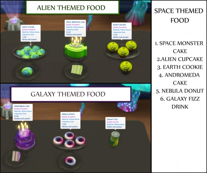 Space Themed Custom food by icemunmun at Mod The Sims image 8118 670x559 Sims 4 Updates