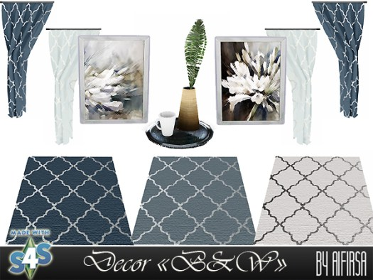 Sims 4 B & W Bedroom Decor at Aifirsa