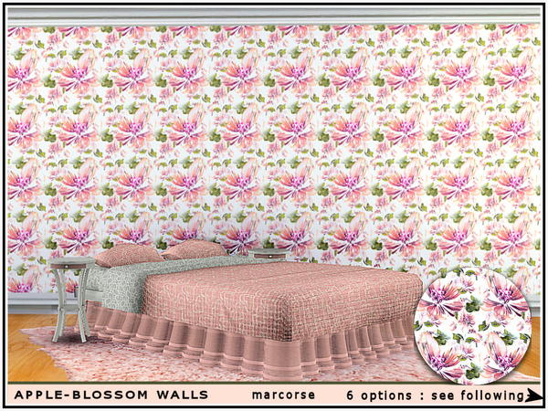 Apple Blossom Walls by marcorse at TSR image 1 Sims 4 Updates