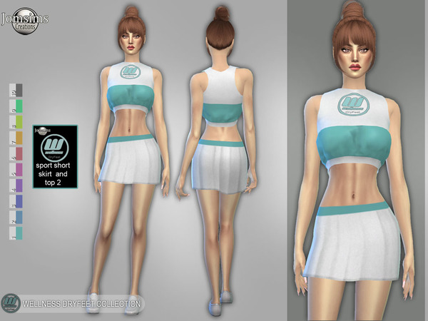 Sims 4 Wellness Dry feet sport short skirt and top by jomsims at TSR