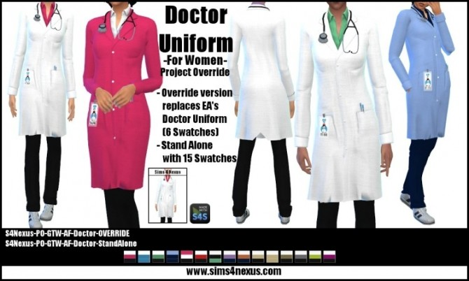 Project Override Womens' Doctor Uniform by SamanthaGump at Sims 4 Nexus image 10311 670x402 Sims 4 Updates