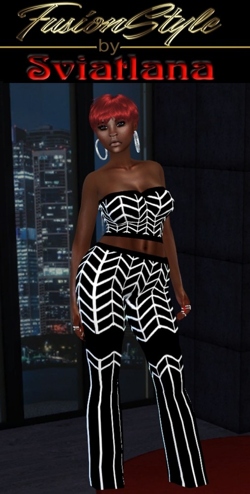 Sims 4 Outfit: short top and pants at FusionStyle by Sviatlana