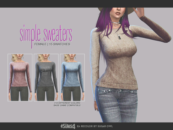 Simple sweaters F by sugar owl at TSR image 1138 Sims 4 Updates
