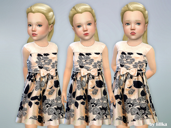 Sims 4 Floral Glitter Toddler Dress by lillka at TSR