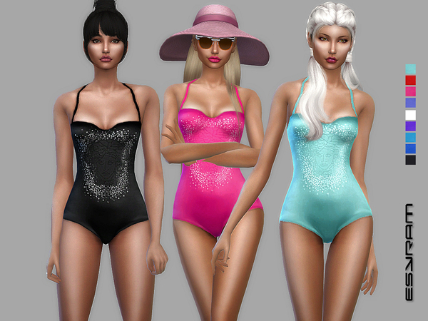 Sims 4 Swimsuit with Medusa application by EsyraM at TSR
