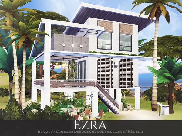 Sims 4 Ezra contemporary beach house by Rirann at TSR