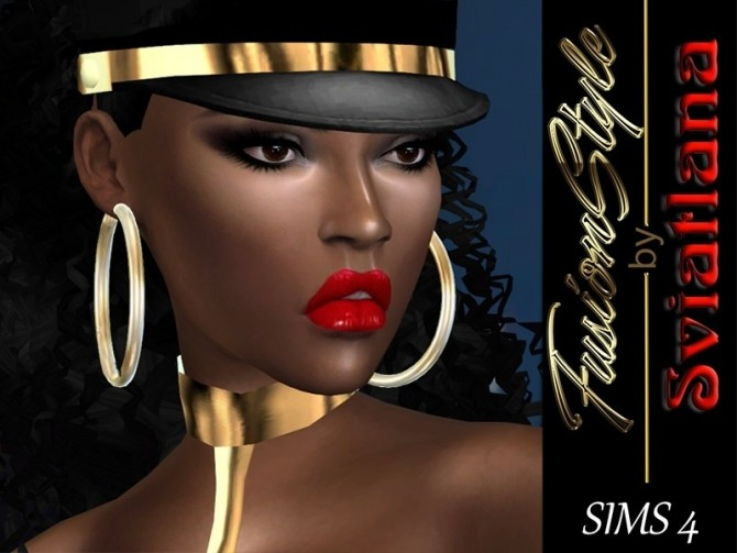 Sims 4 Metal ring (hoops) earrings at FusionStyle by Sviatlana