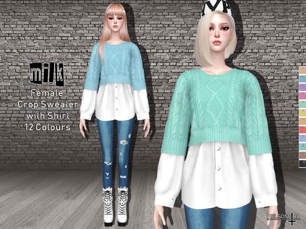 Sims 4 MILK Crop Sweater Shirt by Helsoseira at TSR