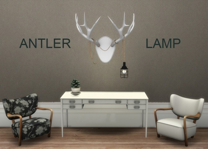Sims 4 Antler Lamp at Leo Sims
