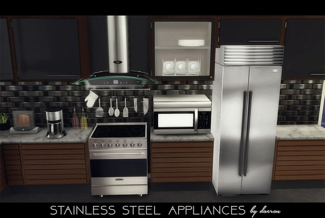 Stainless Steel Appliances + Kitchen Backsplash by daer0n at Blooming Rosy image 134 670x450 Sims 4 Updates