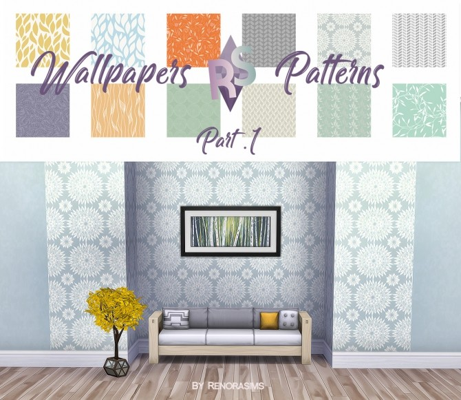 Sims 4 12 patterned (+12 solid) wallpapers at RENORASIMS