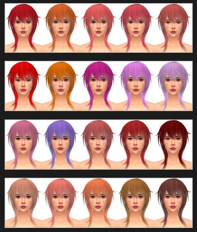 Sims 4 Wings OE0722 Hair Recolors at Annett's Sims 4 Welt