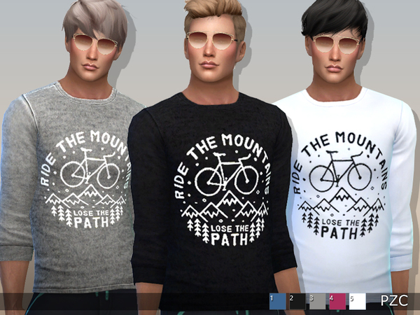 Sims 4 Ride The Mountains Sweatshirts For Him by Pinkzombiecupcakes at TSR