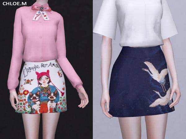 Sims 4 Mini Skirt by ChloeMMM at TSR