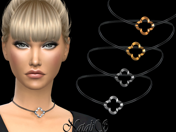 Sims 4 Four Leaf Choker by NataliS at TSR