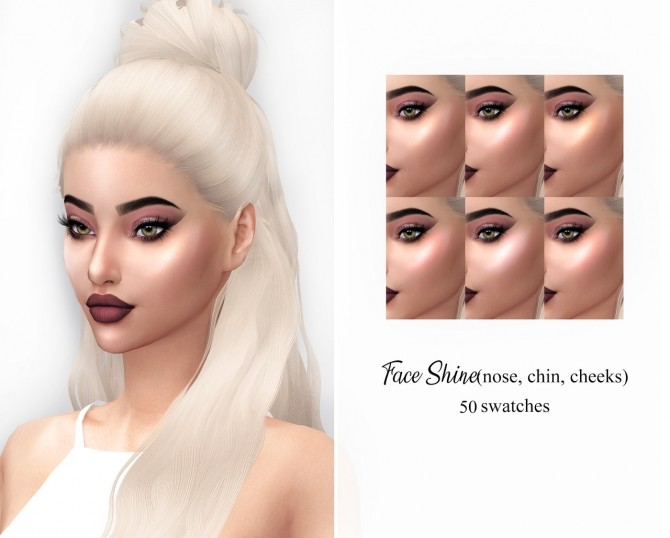 Mia Face Shine 50 swatches (P) at FROST SIMS 4 image 1535 670x538 Sims 4 Updates