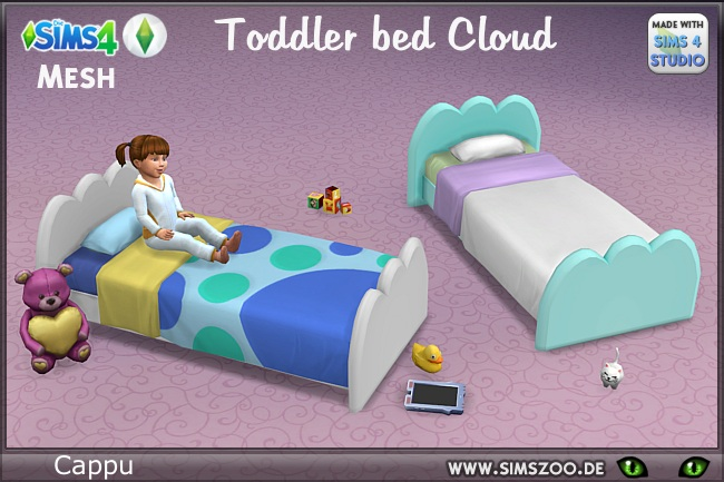Sims 4 Toddler bed Cloud by Cappu at Blacky's Sims Zoo