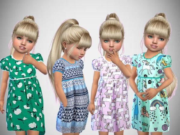 Sims 4 Toddlers Print Dresses by SweetDreamsZzzzz at TSR
