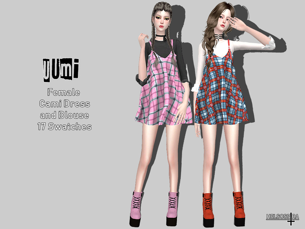 UUMI Cami Dress w/ Blouse by Helsoseira at TSR image 1825 Sims 4 Updates